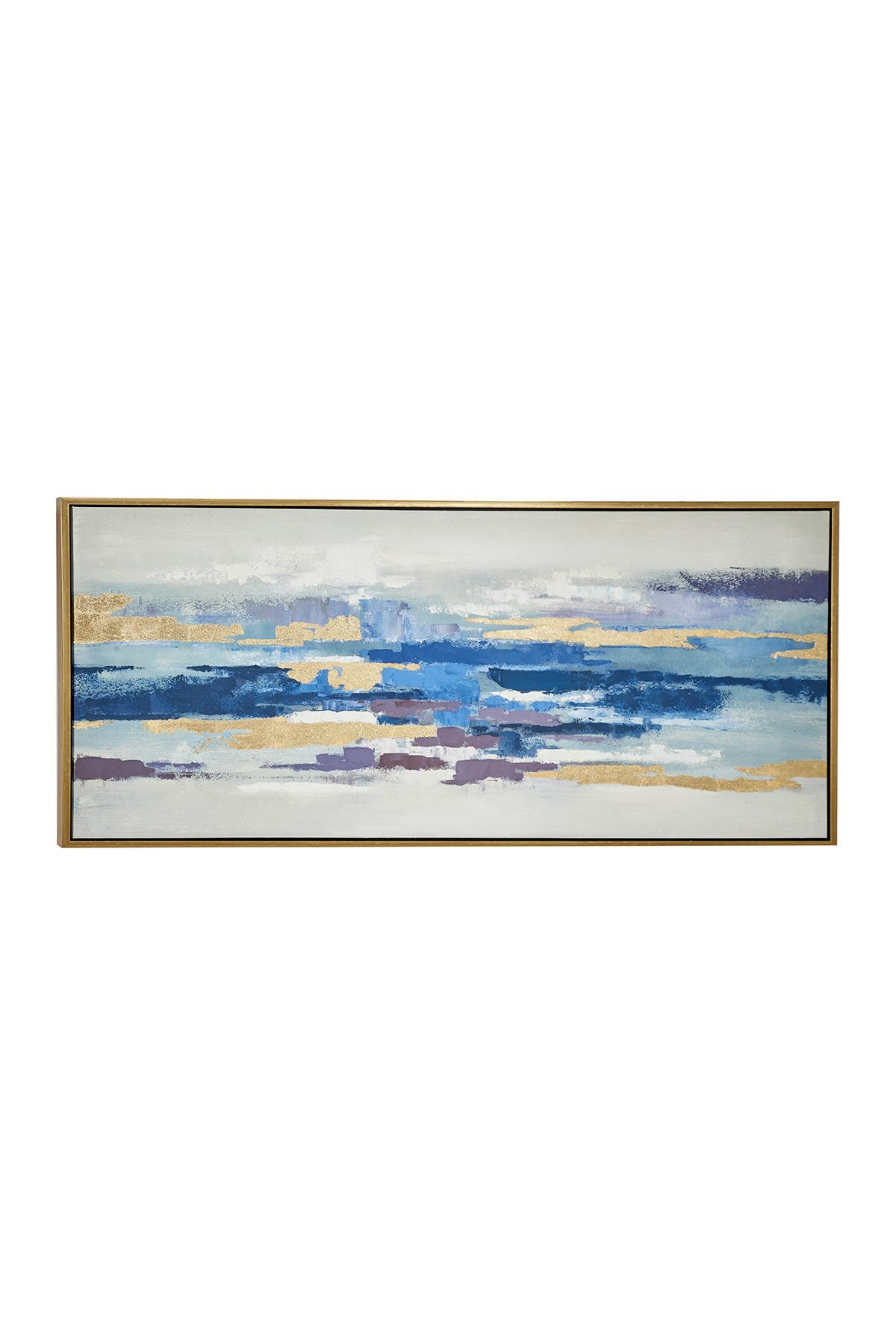 Willow Row Large Blue & Gold Abstract Painting In Metallic Gold Wood Frame at Nordstrom Rack