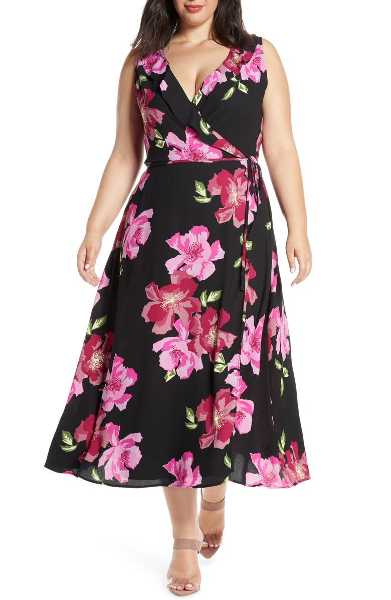 LEITH Ruffle Detail Sleeveless Dress, Main, color, BLACK BOLD FLORAL