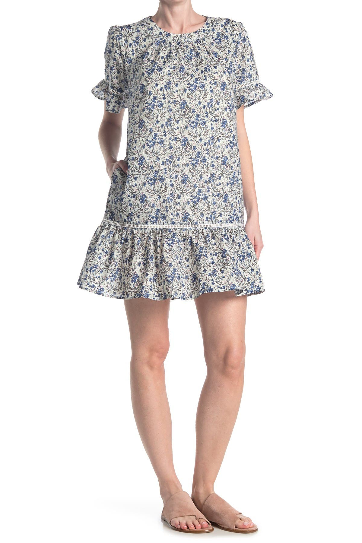 Image of MELLODAY Floral Ruffle Trim Shift Dress