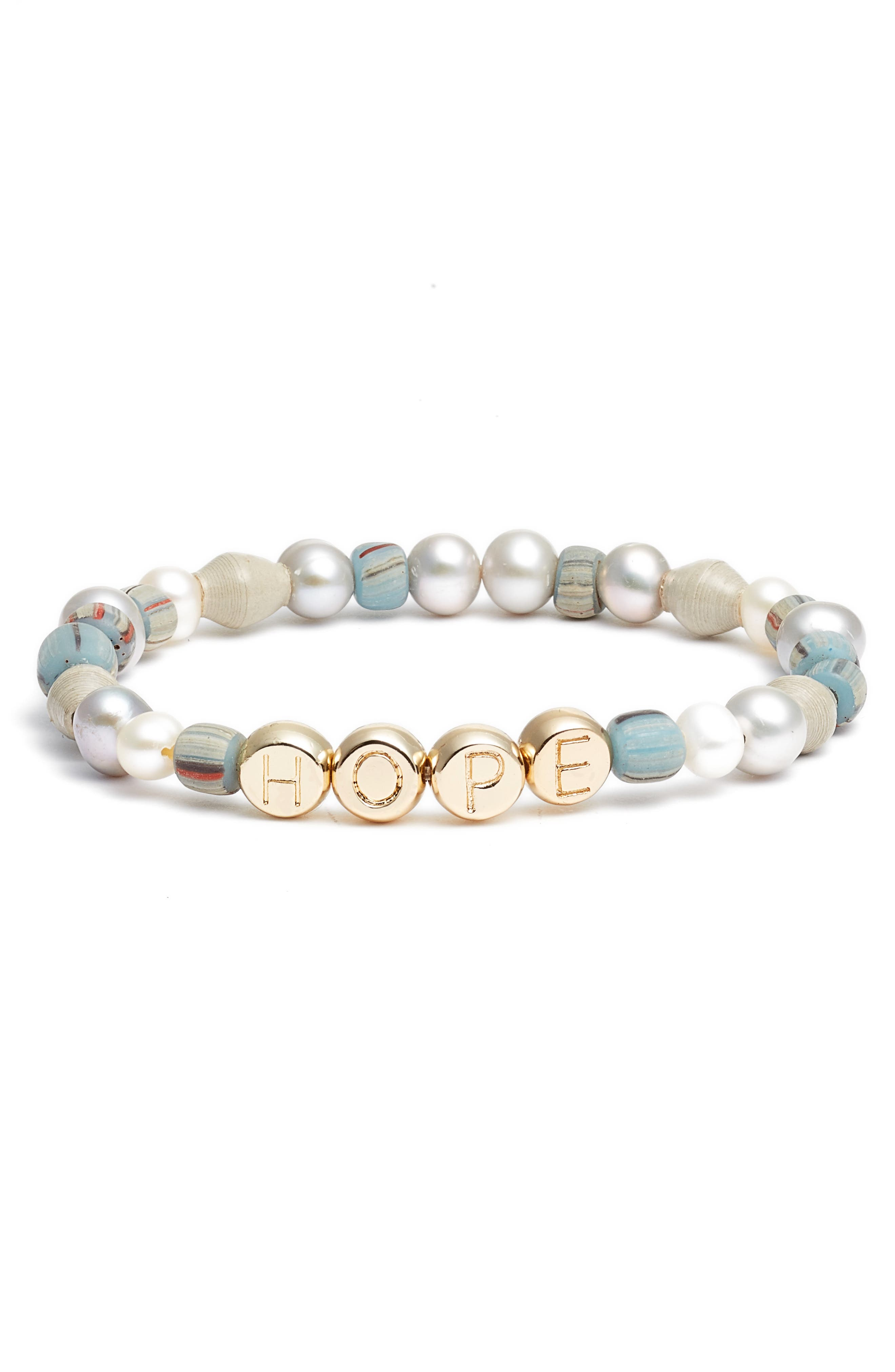 Hope Pearl & Bead Stretch Bracelet