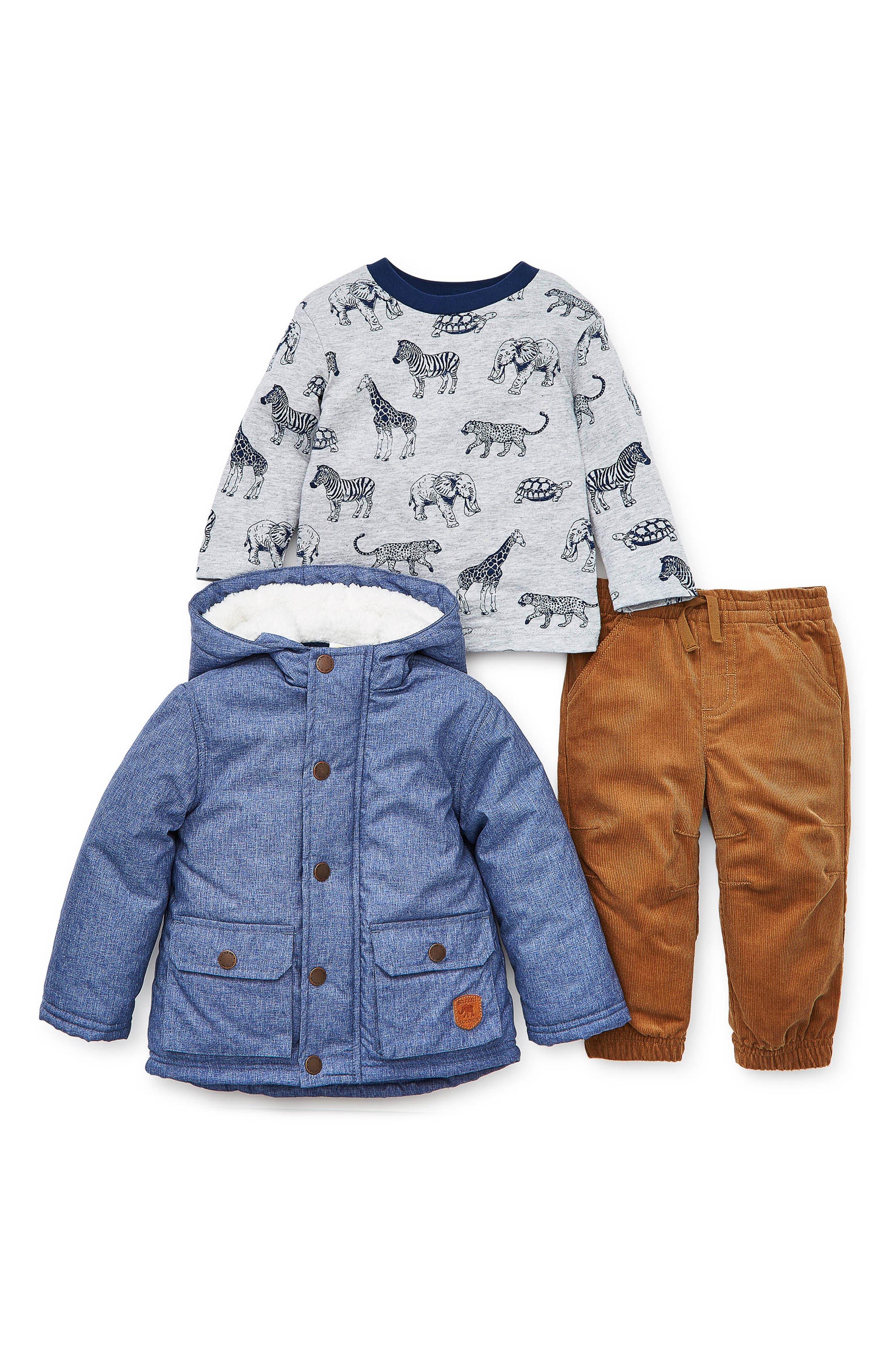 Infant Boys Little Me Hooded Chambray Jacket TShirt  Corduroy Pants Set