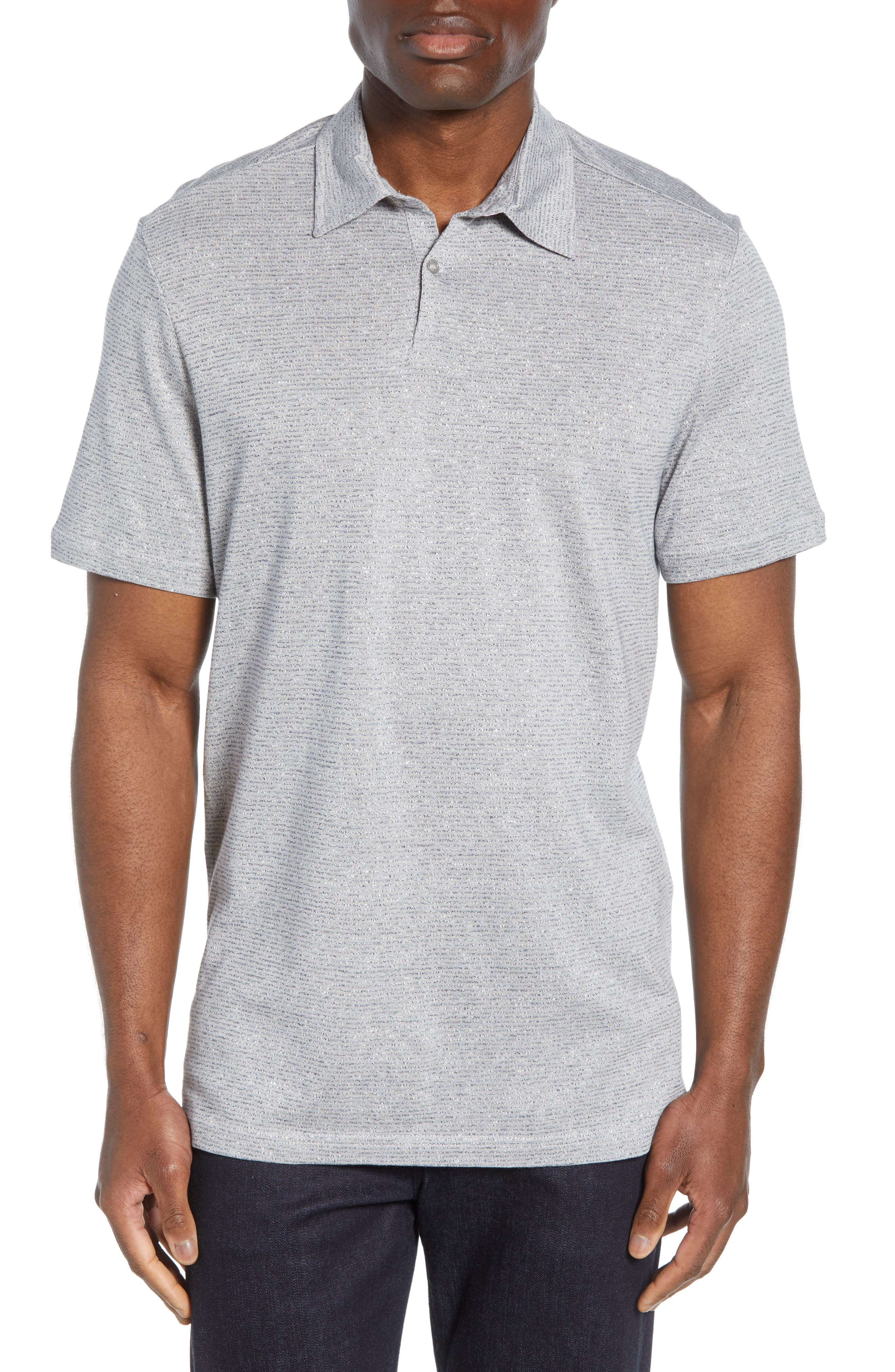 Nordstrom Signature Stripe Cotton & Linen Polo Shirt, Brown