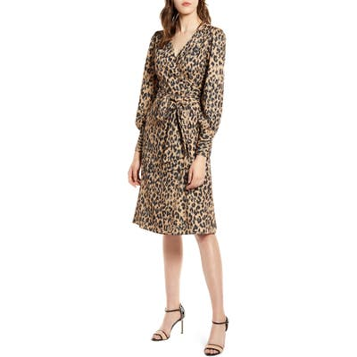 Halogen Long Sleeve Wrap Dress, Brown