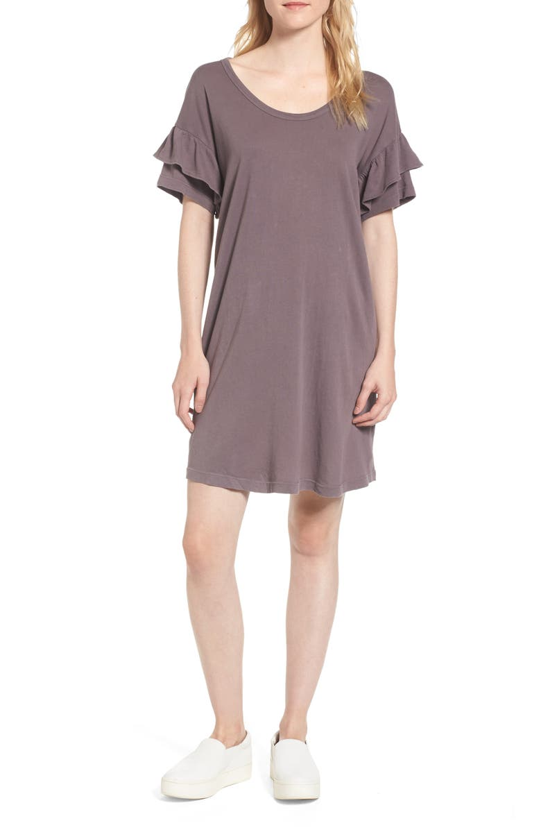 CURRENT/ELLIOTT The Ruffle Roadie T-Shirt Dress, Main, color, 456