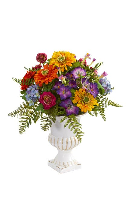 Image of NEARLY NATURAL Mixed Floral Artificial Arrangement in Urn