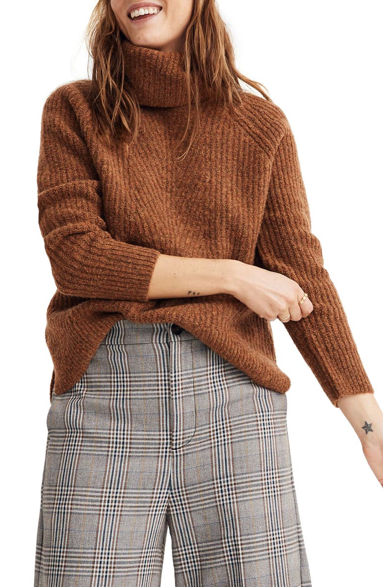 MADEWELL Turtleneck Sweater, Main, color, HEATHER CIDER