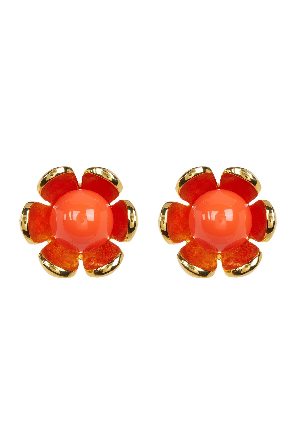 Image of Trina Turk Resin Detail Flower Clip-On Earrings