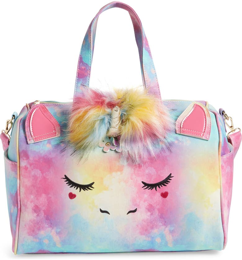 UNDER ONE SKY Faux Fur Pom Unicorn Duffle Bag, Main, color, RAINBOW