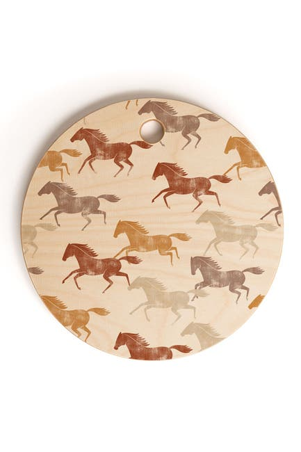 Image of Deny Designs Little Arrow Design Co Wild Horses Orange Round Cutting Board