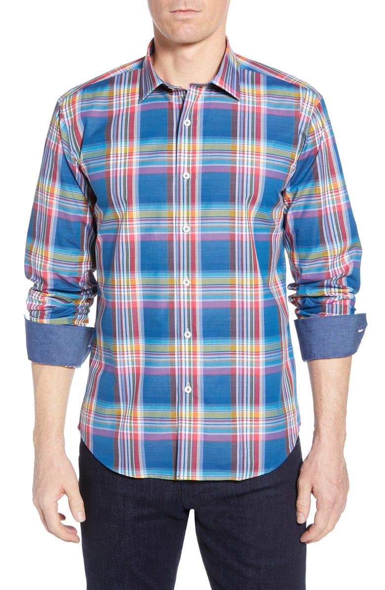 BUGATCHI Shaped Fit Plaid Cotton Shirt, Main, color, NAVY