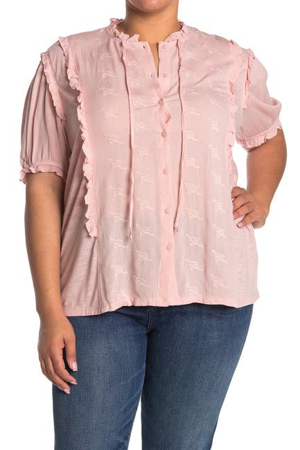 Image of Forgotten Grace Short Sleeve Ruffled Button Up Top