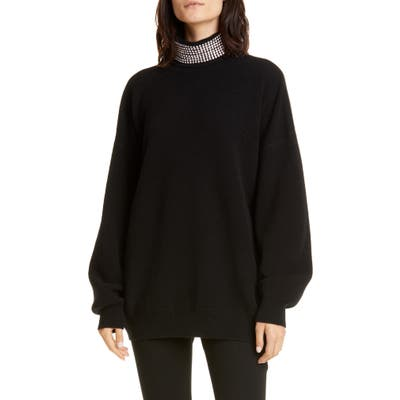Alexander Wang Crystal Neck Wool Blend Sweater, Black