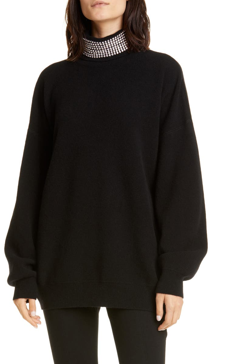 ALEXANDER WANG Crystal Neck Wool Blend Sweater, Main, color, 001