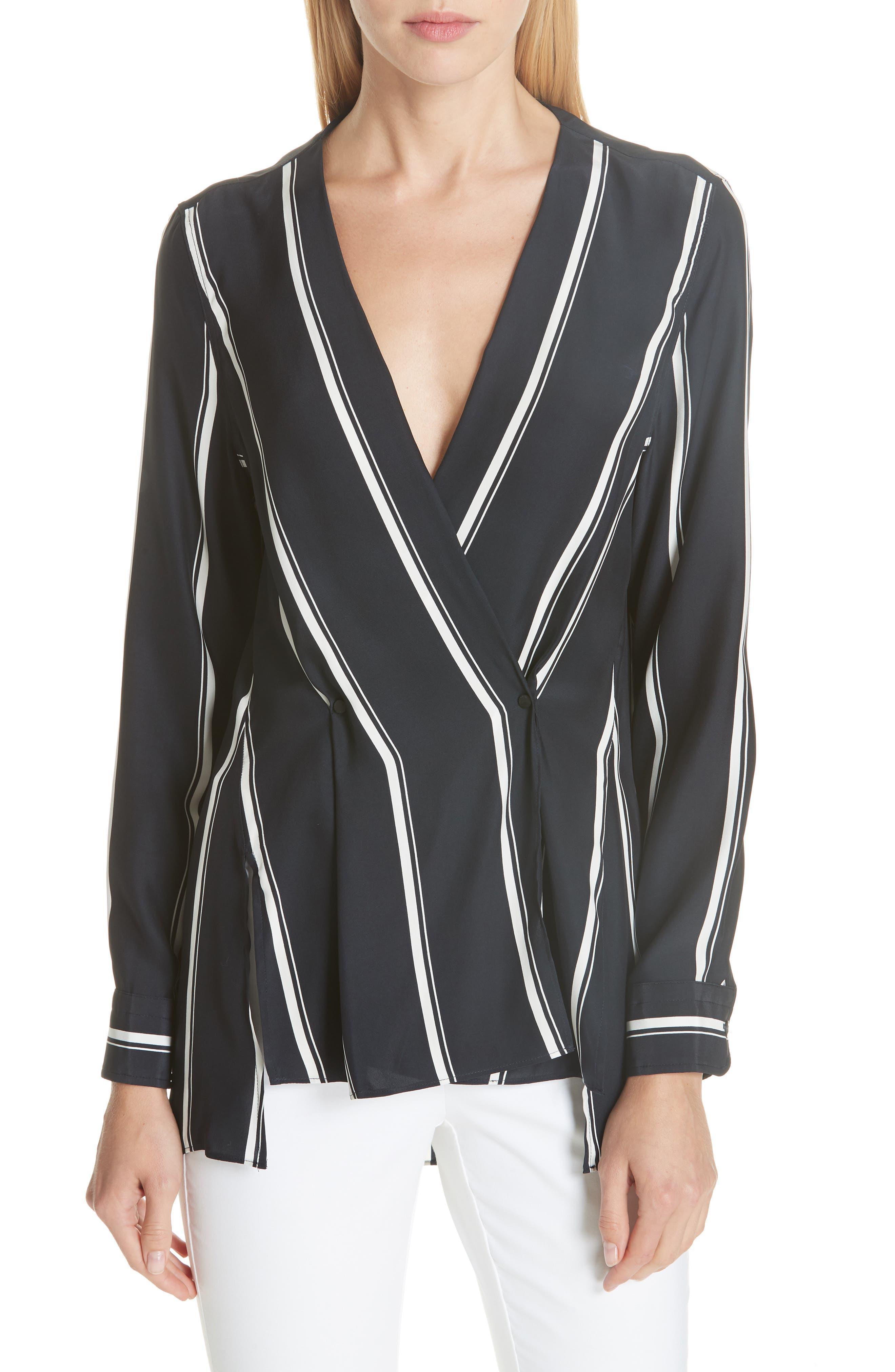 Debbie Stripe Silk Blouse, Main, color, NAVY STRIPE
