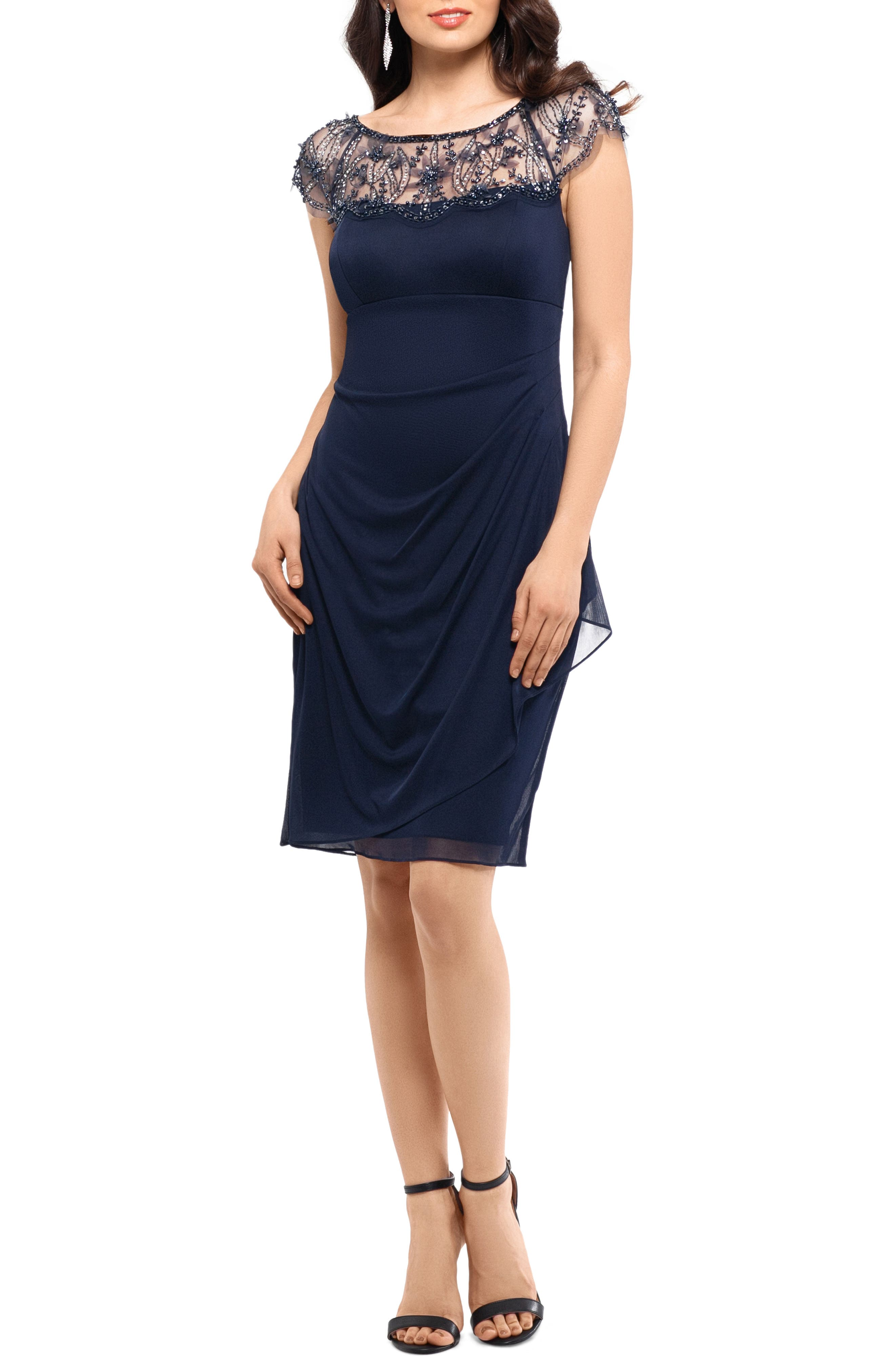 Xscape Beaded Illusion Lace Detail Cocktail Dress, Blue