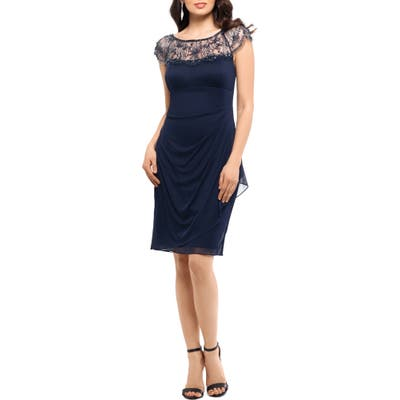 Xscape Beaded Illusion Lace Detail Cocktail Dress, Blue