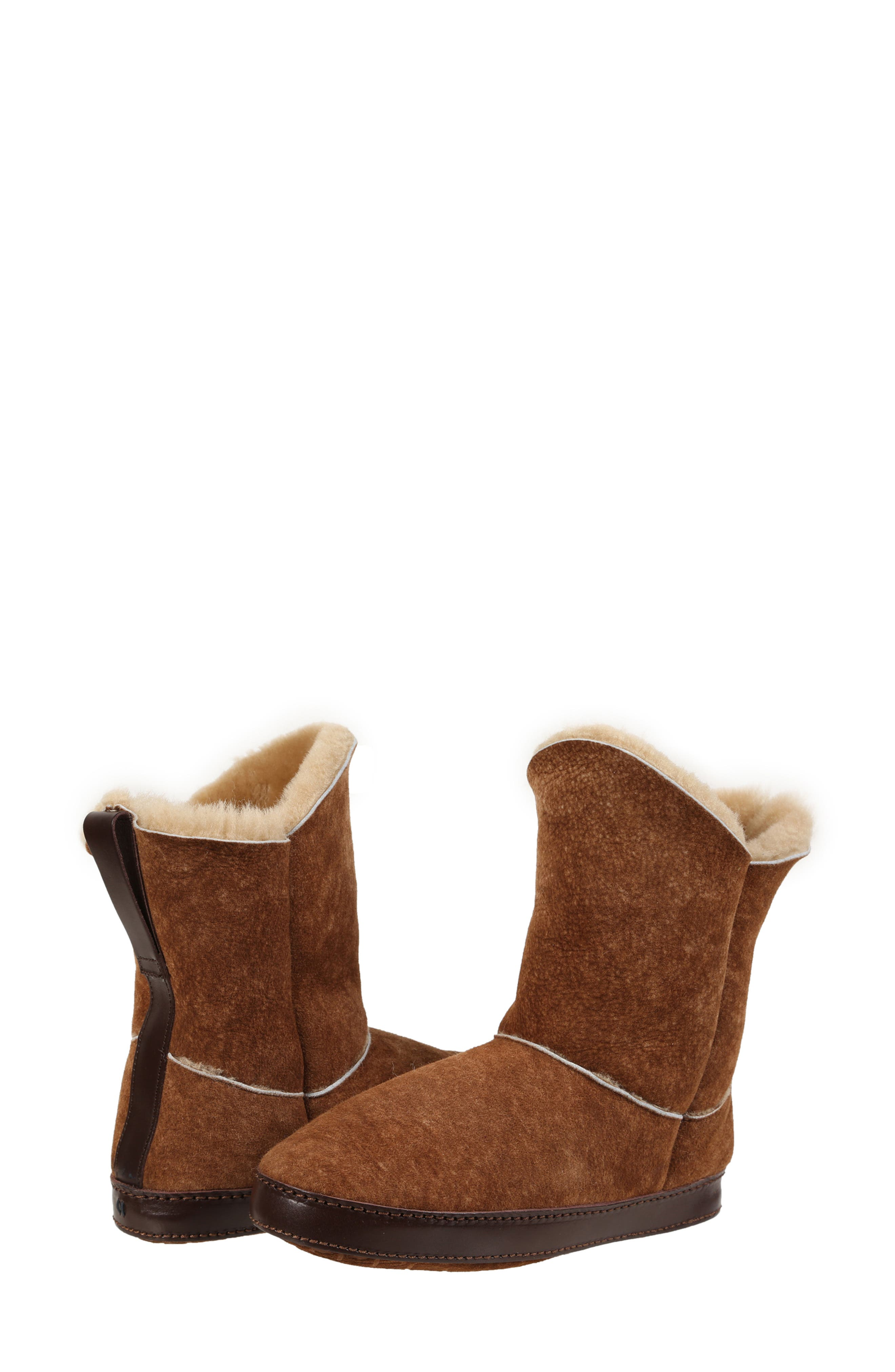 ,                             Gemma Genuine Shearling Slipper Bootie,                             Alternate thumbnail 7, color,                             STONE WASHED COGNAC