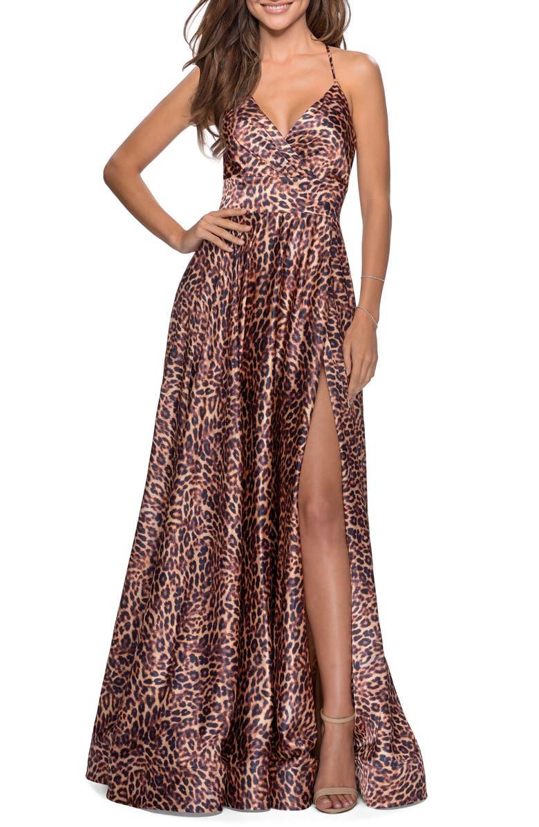 LA FEMME Leopard Print Strappy Slit Gown, Main, color, LEOPARD