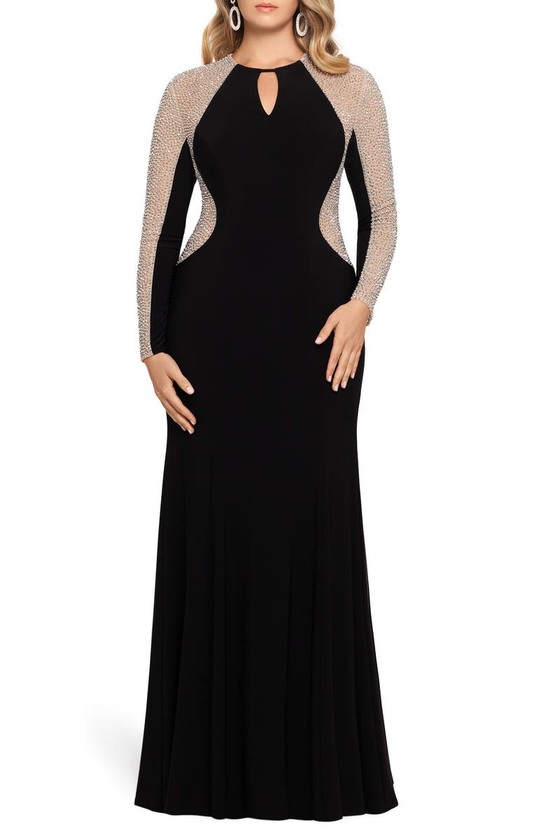XSCAPE Caviar Beading Long Sleeve Keyhole Gown, Main, color, BLACK/ NUDE/ SILVER