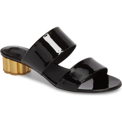 Salvatore Ferragamo Belluno Double Band Slide Sandal B - Black
