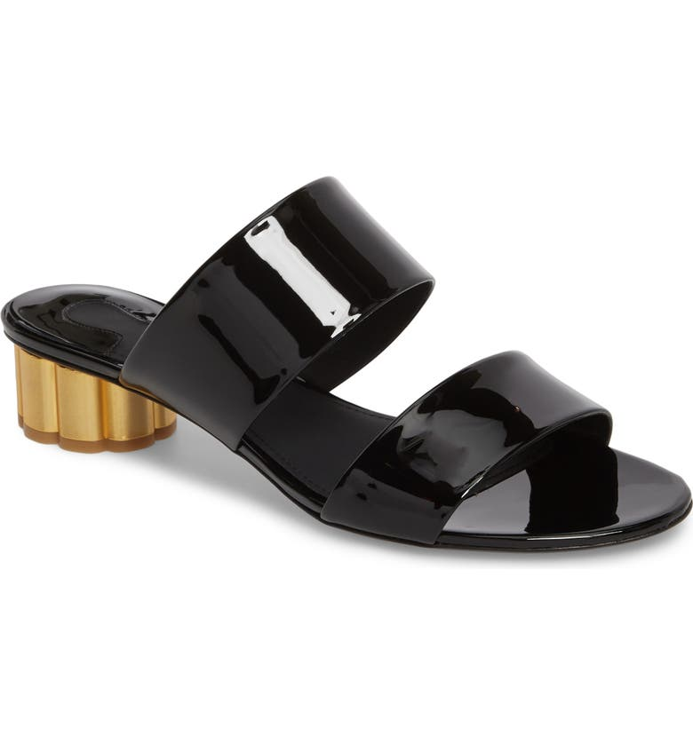 SALVATORE FERRAGAMO Belluno Double Band Slide Sandal, Main, color, BLACK PATENT LEATHER