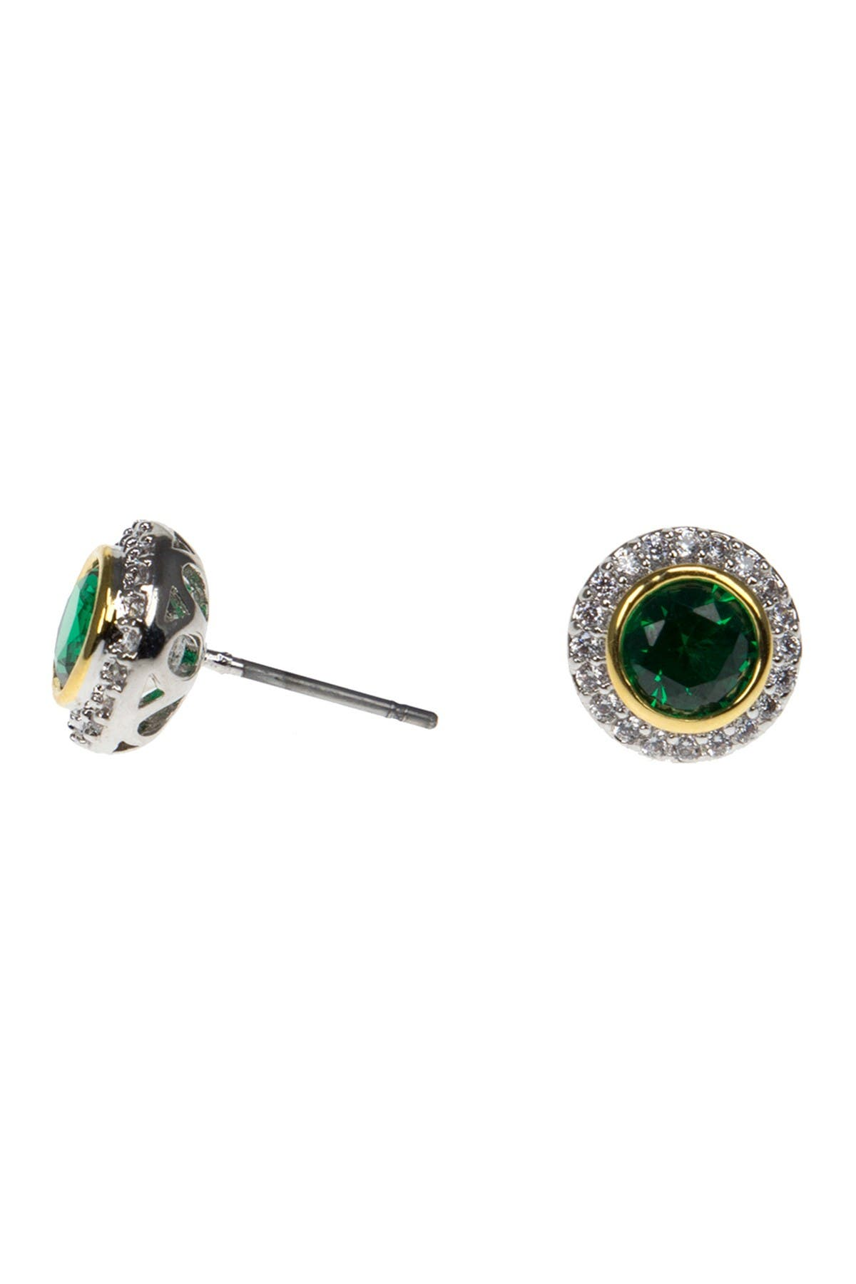 Image of CZ By Kenneth Jay Lane CZ Accented Bezel Set Earrings