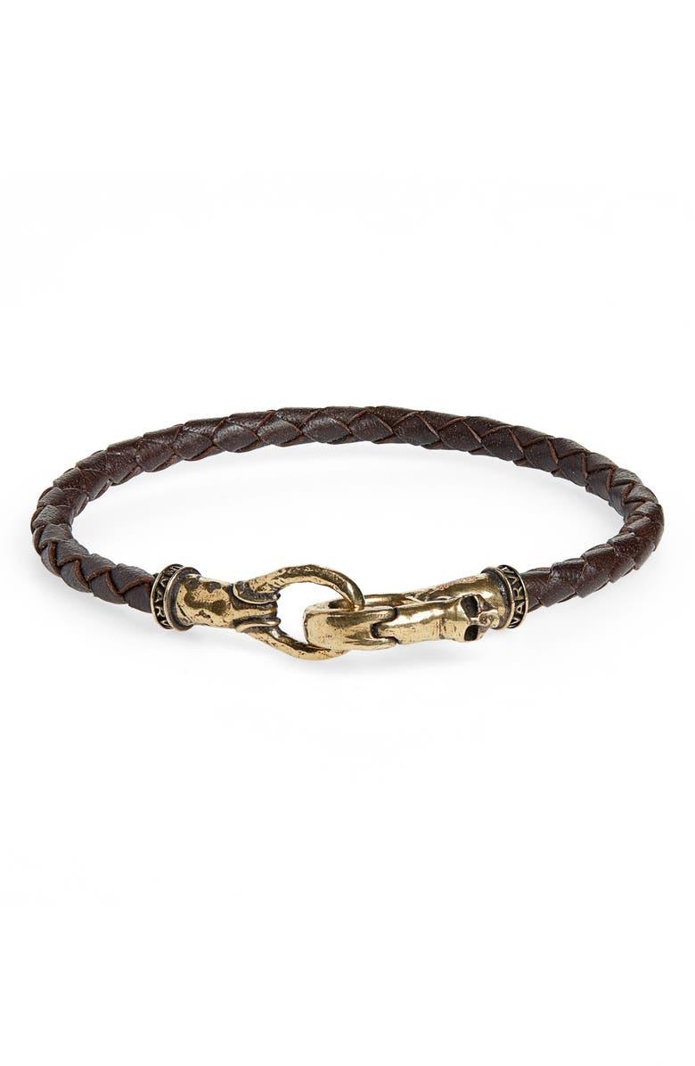JOHN VARVATOS Braided Leather Bracelet, Main, color, BROWN