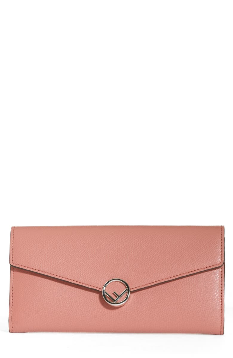 FENDI Logo Calfskin Leather Continental Wallet on a Chain, Main, color, 650