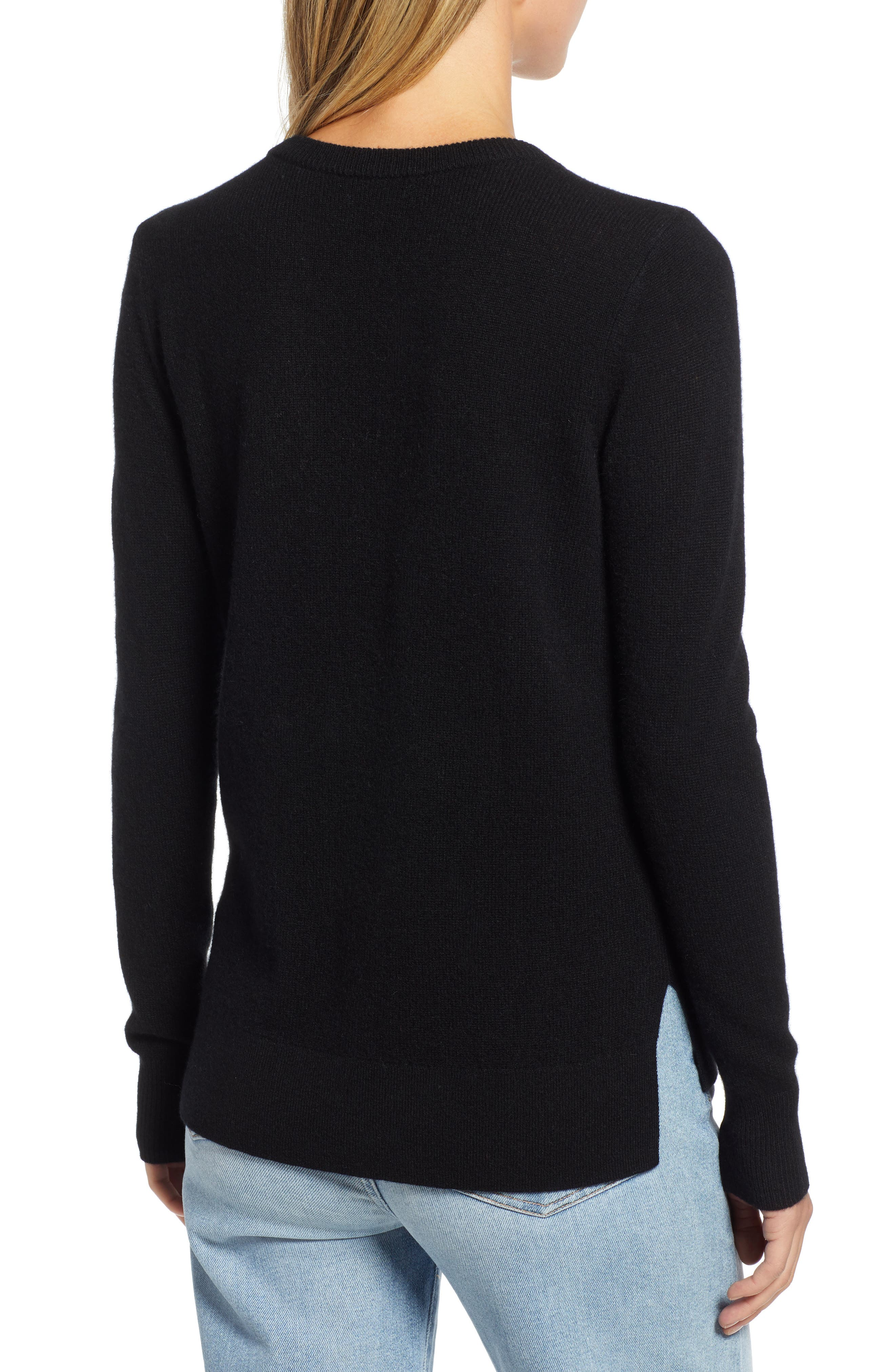 ,                             Crewneck Cashmere Sweater,                             Alternate thumbnail 242, color,                             001