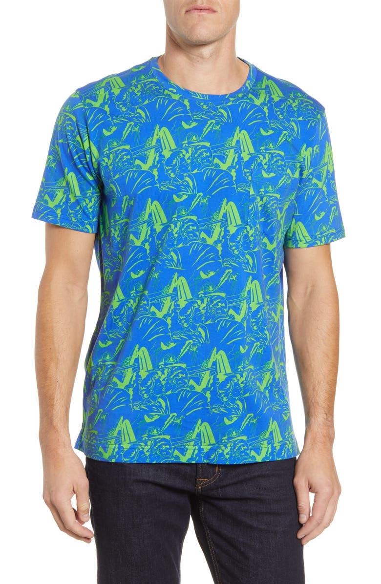 ROBERT GRAHAM Aerobatics Pocket T-Shirt, Main, color, BLUE