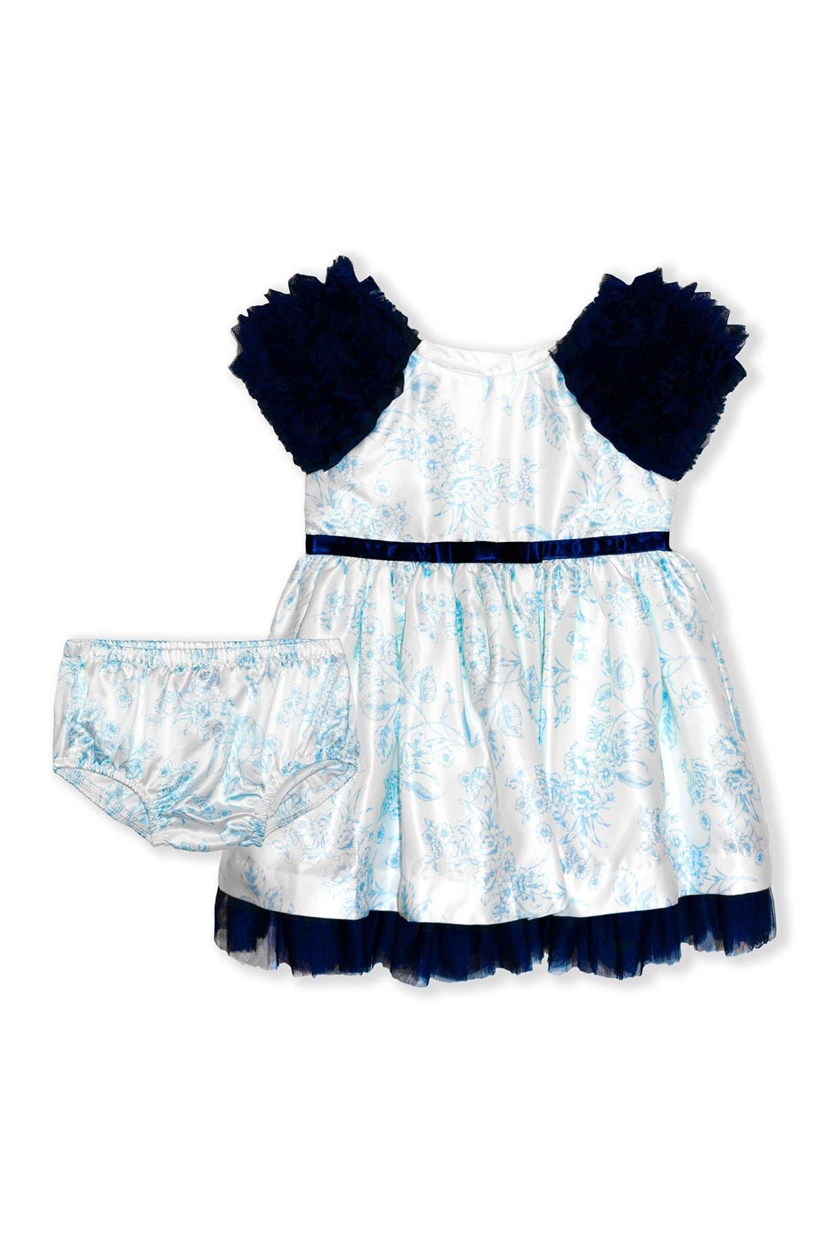Image of BISCOTTI Floral Satin 2-Piece Dress & Bloomer Set