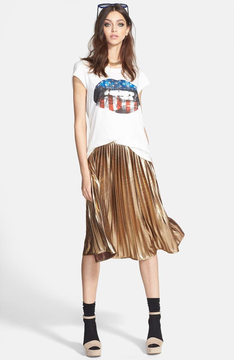 RULES OF ETIQUETTE Metallic Pleat Skirt, Main, color, 700