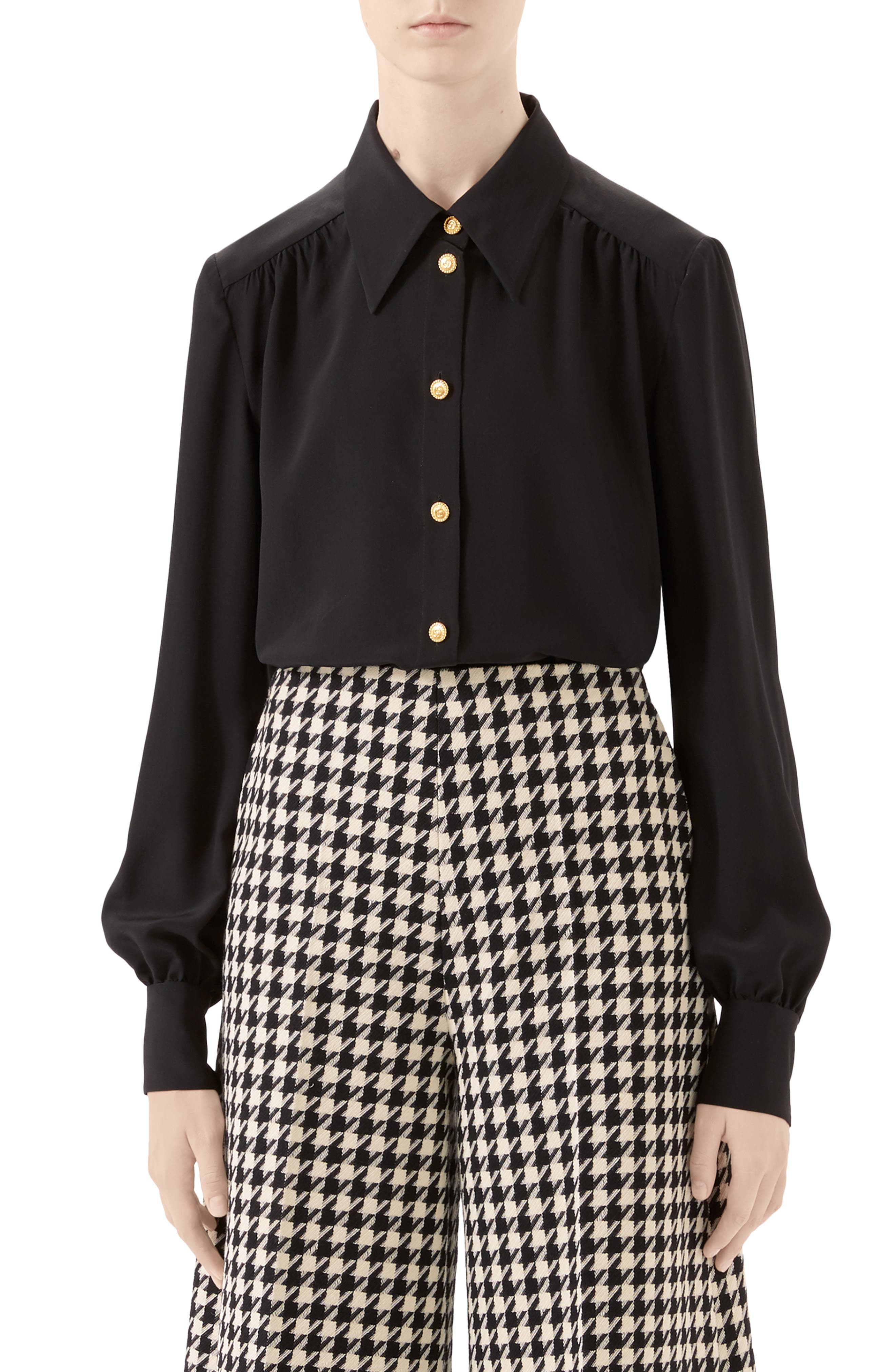 Gucci Tops Silk Crêpe de Chine Blouse with Removable Tie
