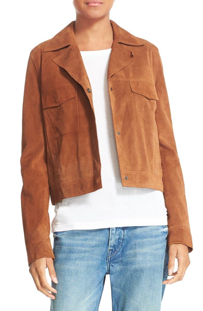 VINCE Suede Jean Moto Jacket, Main, color, 247
