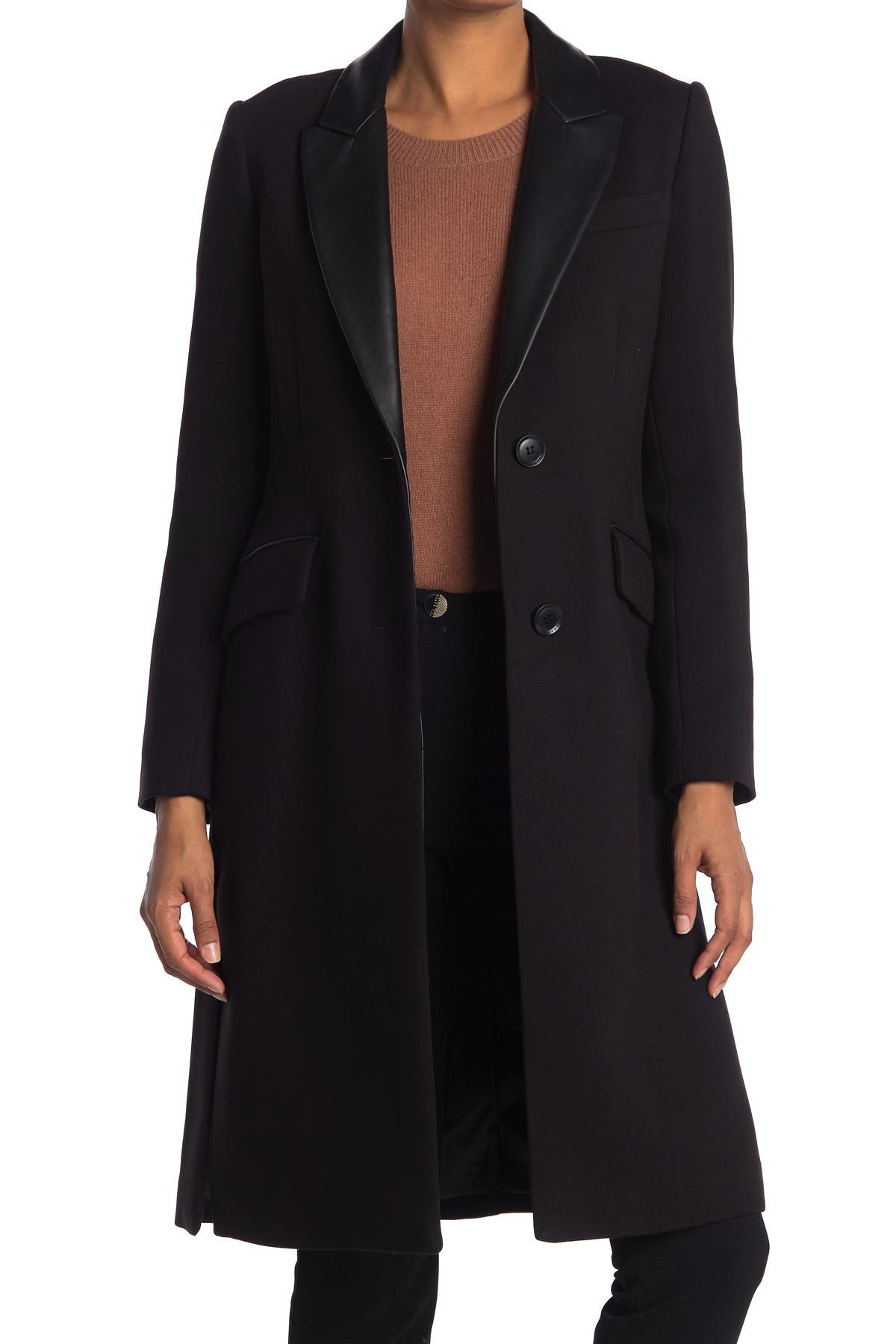 Image of BCBGMAXAZRIA Leather Trim Riding Coat
