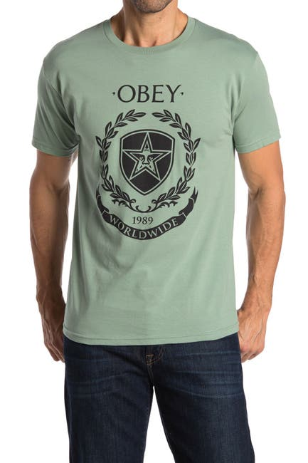 Image of Obey Shield Wreath Graphic Print T-Shirt
