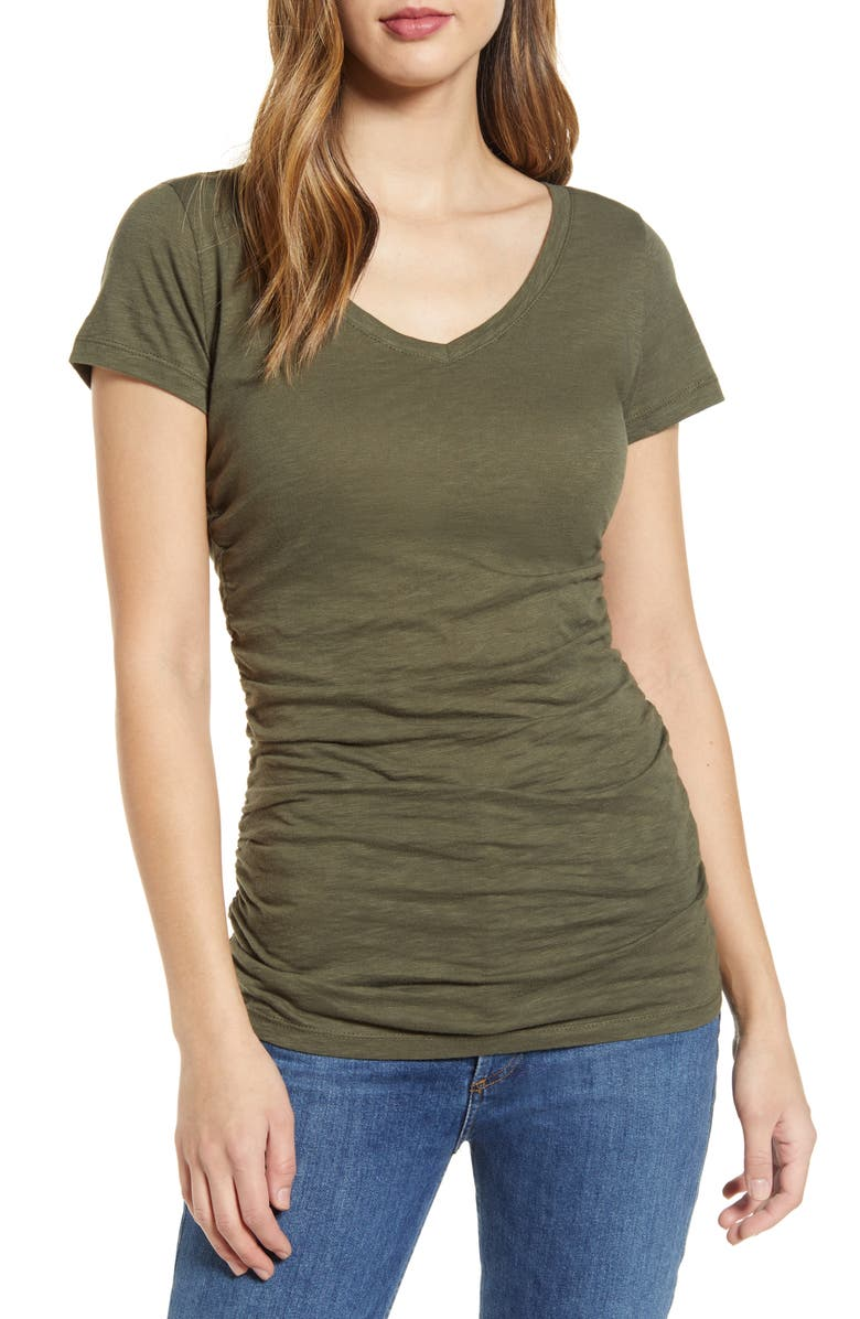 CASLON<SUP>®</SUP> Shirred V-Neck Tee, Main, color, 359