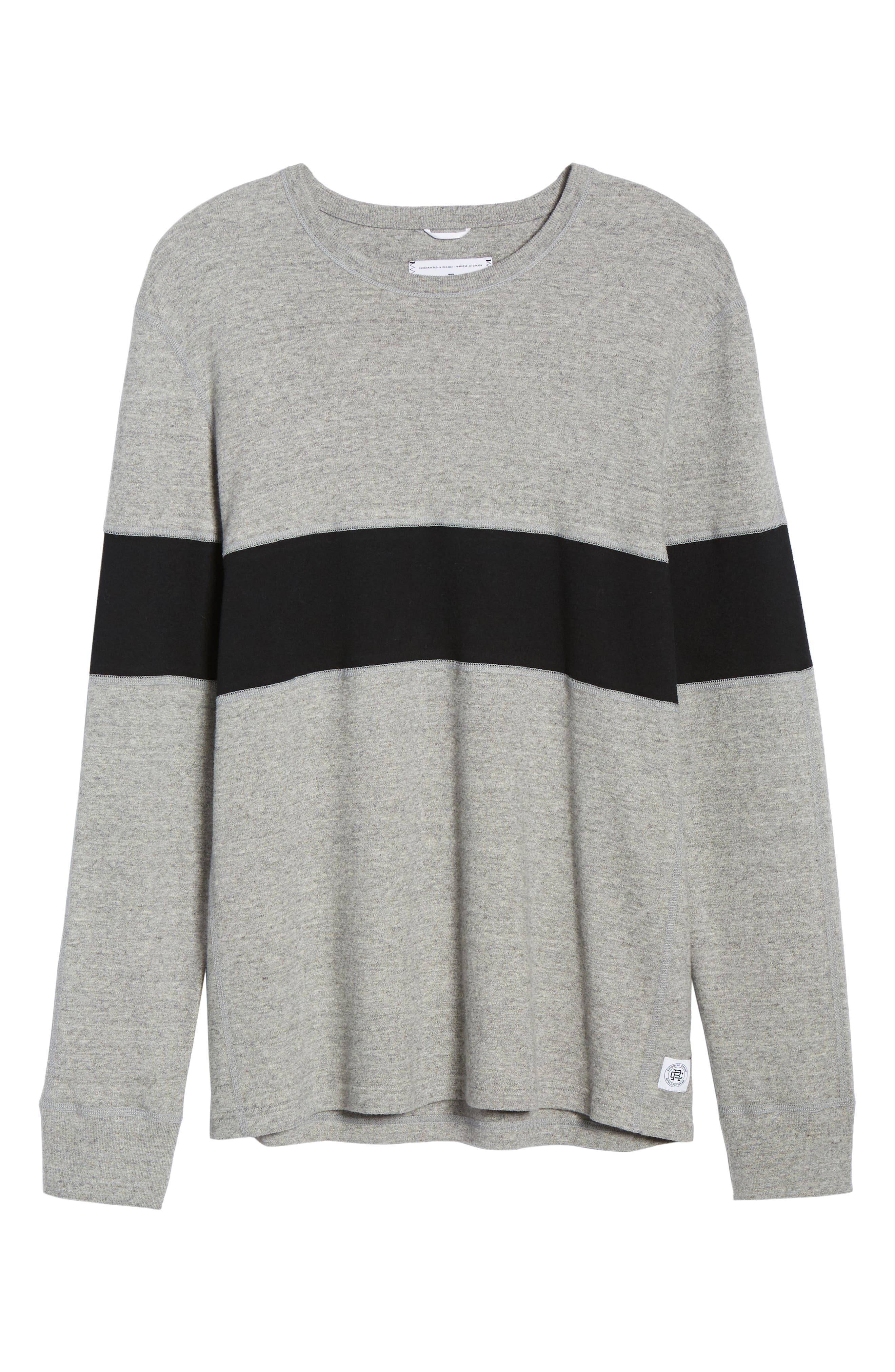 ,                             Rugby Crewneck Sweatshirt,                             Alternate thumbnail 6, color,                             MEDIUM GREY/ BLACK