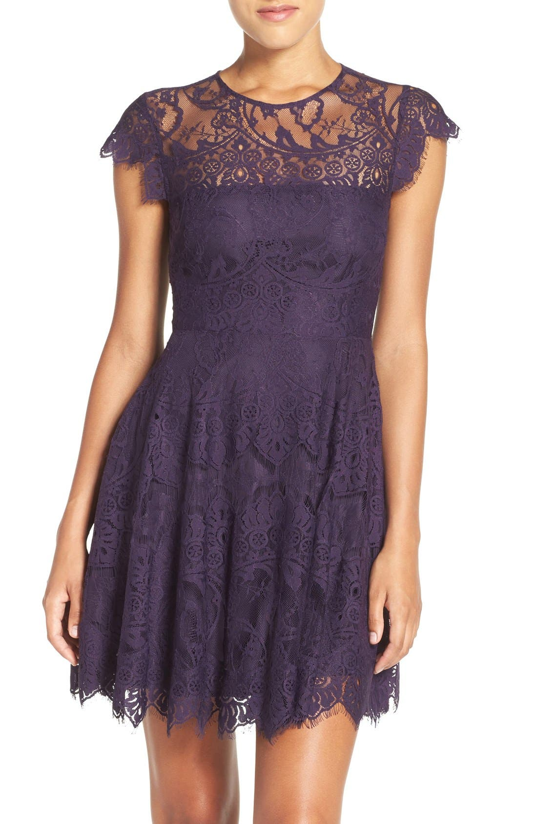 ,                             Rhianna Open Back Lace Fit & Flare Cocktail Dress,                             Alternate thumbnail 68, color,                             533