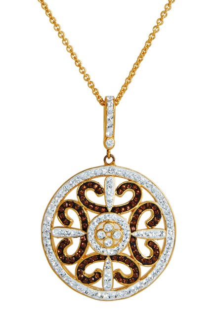 Image of Savvy Cie Crystal Chocolate Medallion Pendant Necklace