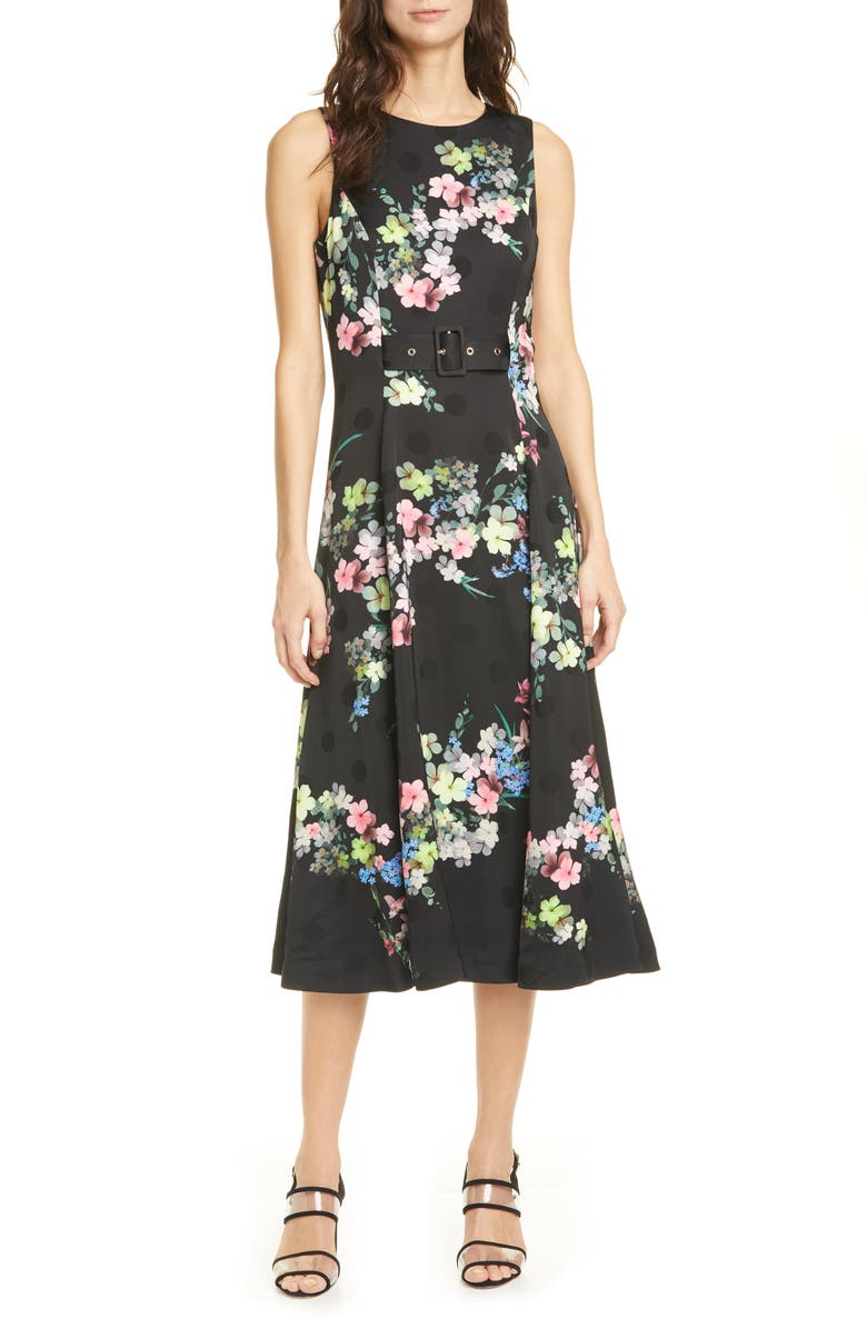TED BAKER LONDON Camylle Pergola Midi Dress, Main, color, 001