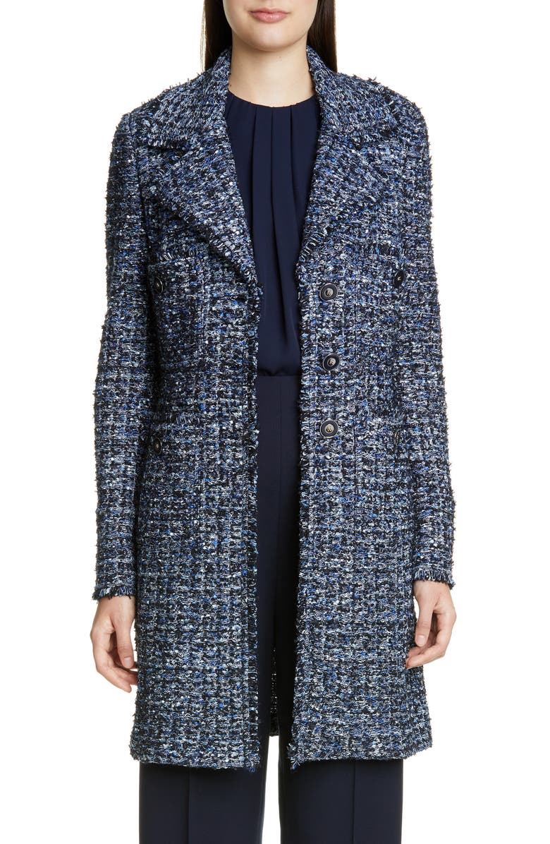 ST. JOHN COLLECTION Novelty Ribbon Tweed Knit Jacket, Main, color, NAVY/ PRUSSIAN BLUE MULTI
