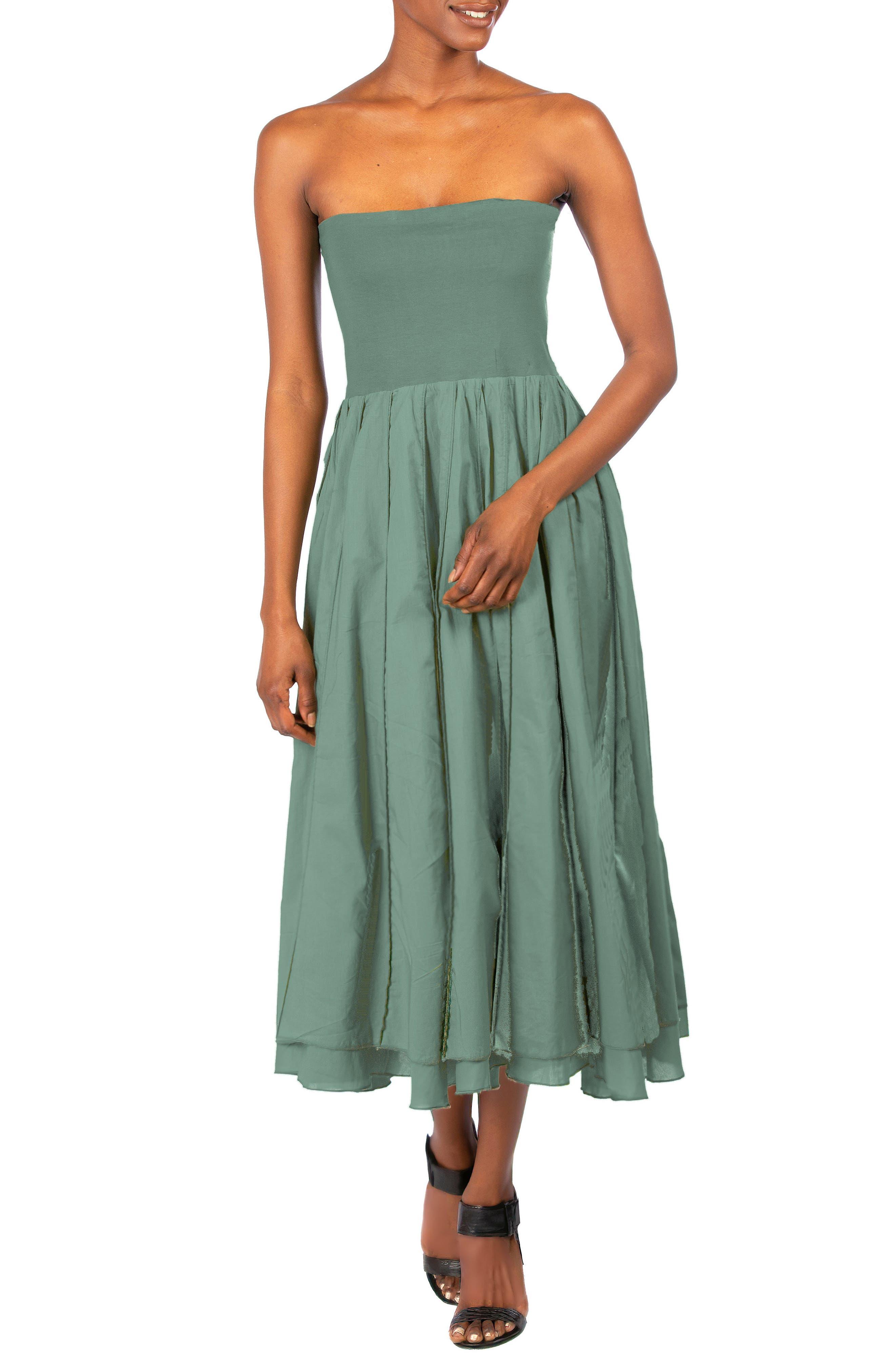Pintuck Strapless Dress