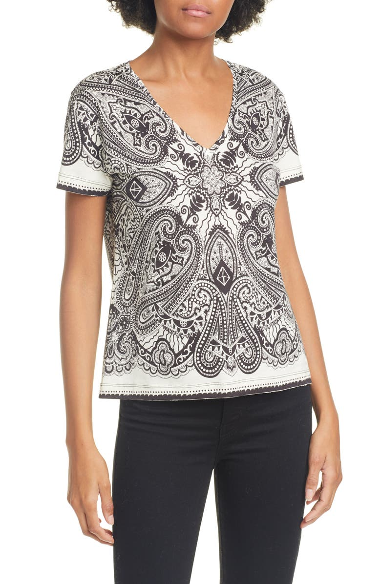 ETRO Graphic Paisley Crop V-Neck Cotton Tee, Main, color, WHITE