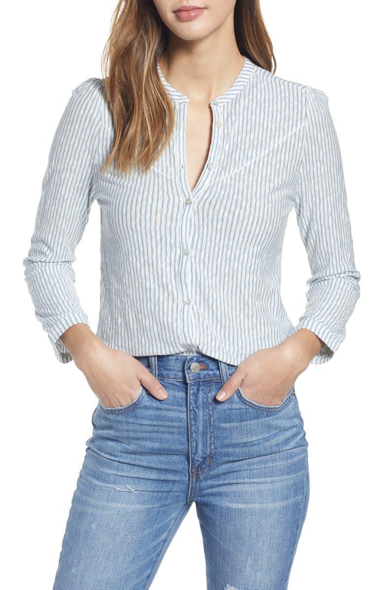 LUCKY BRAND Stripe Seersucker Cotton Blouse, Main, color, BLUE STRIPE
