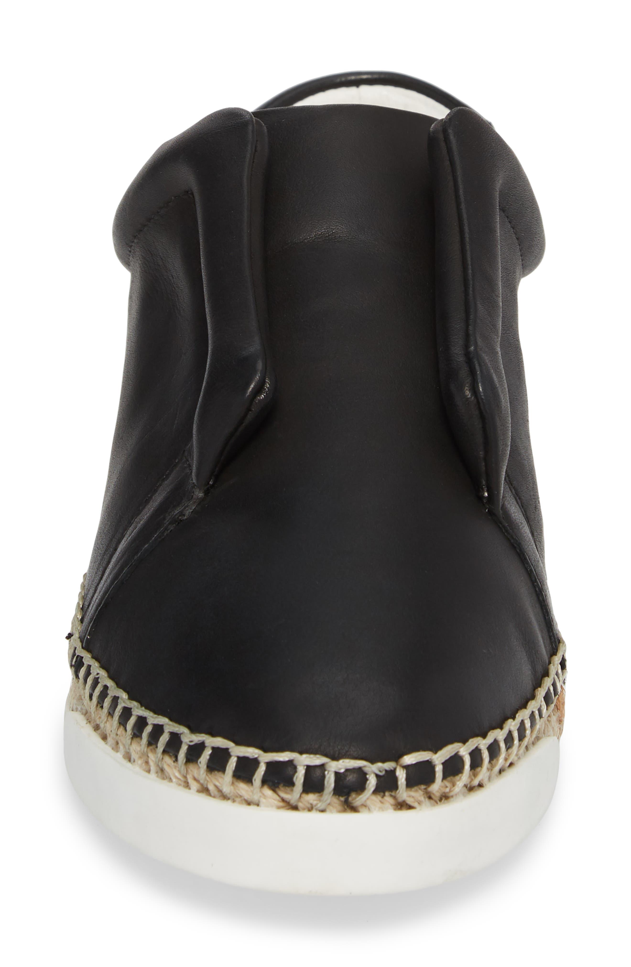 ,                             Elizabeth Espadrille Slip-On Sneaker,                             Alternate thumbnail 4, color,                             BLACK LEATHER