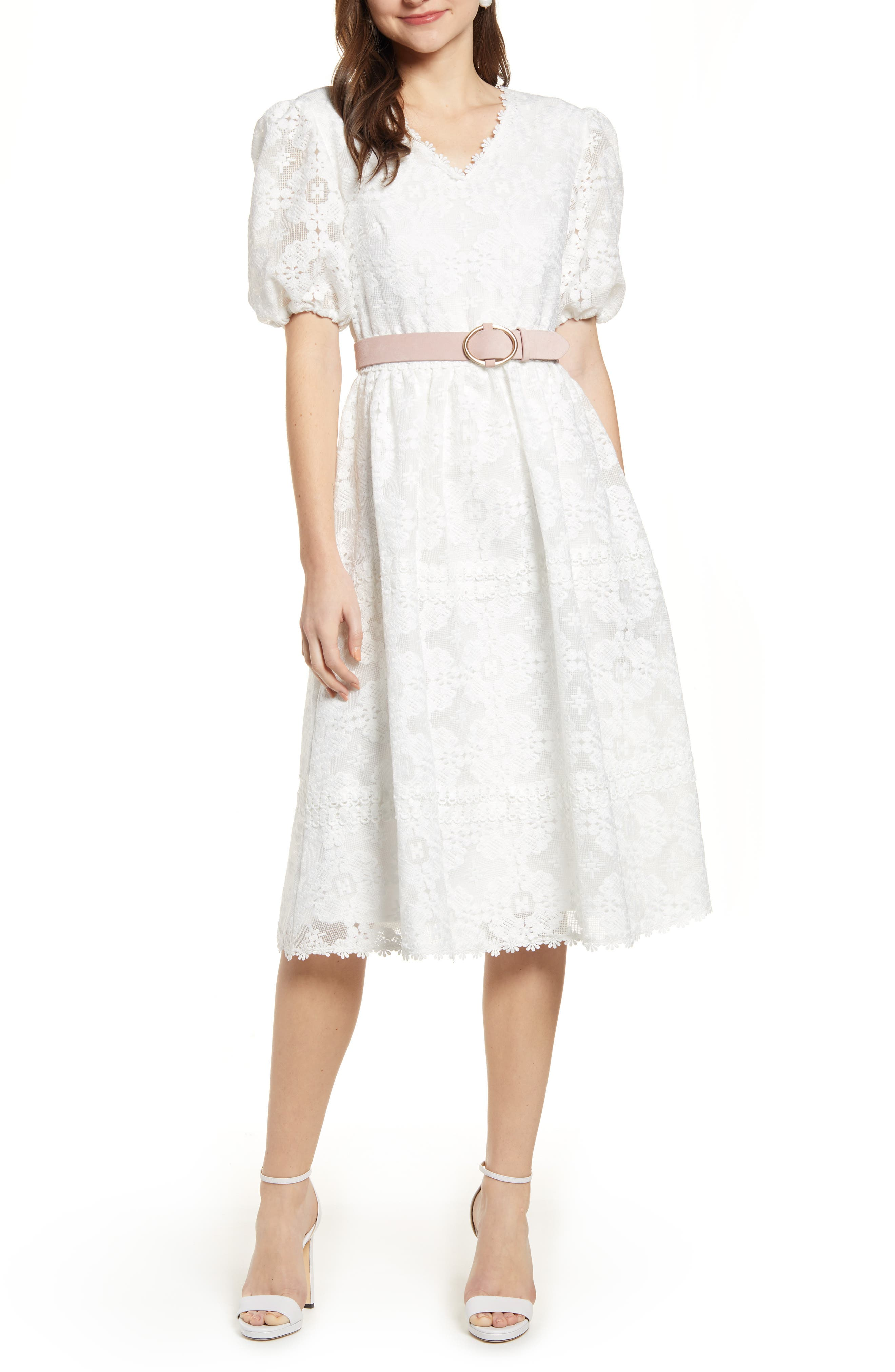 Rachel Parcell V-Neck Lace Dress, White (Nordstrom Exclusive)