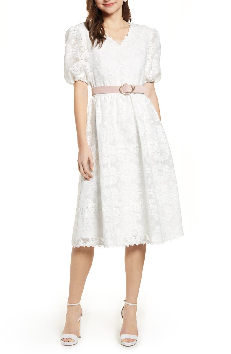 RACHEL PARCELL V-Neck Lace Dress, Main, color, 100