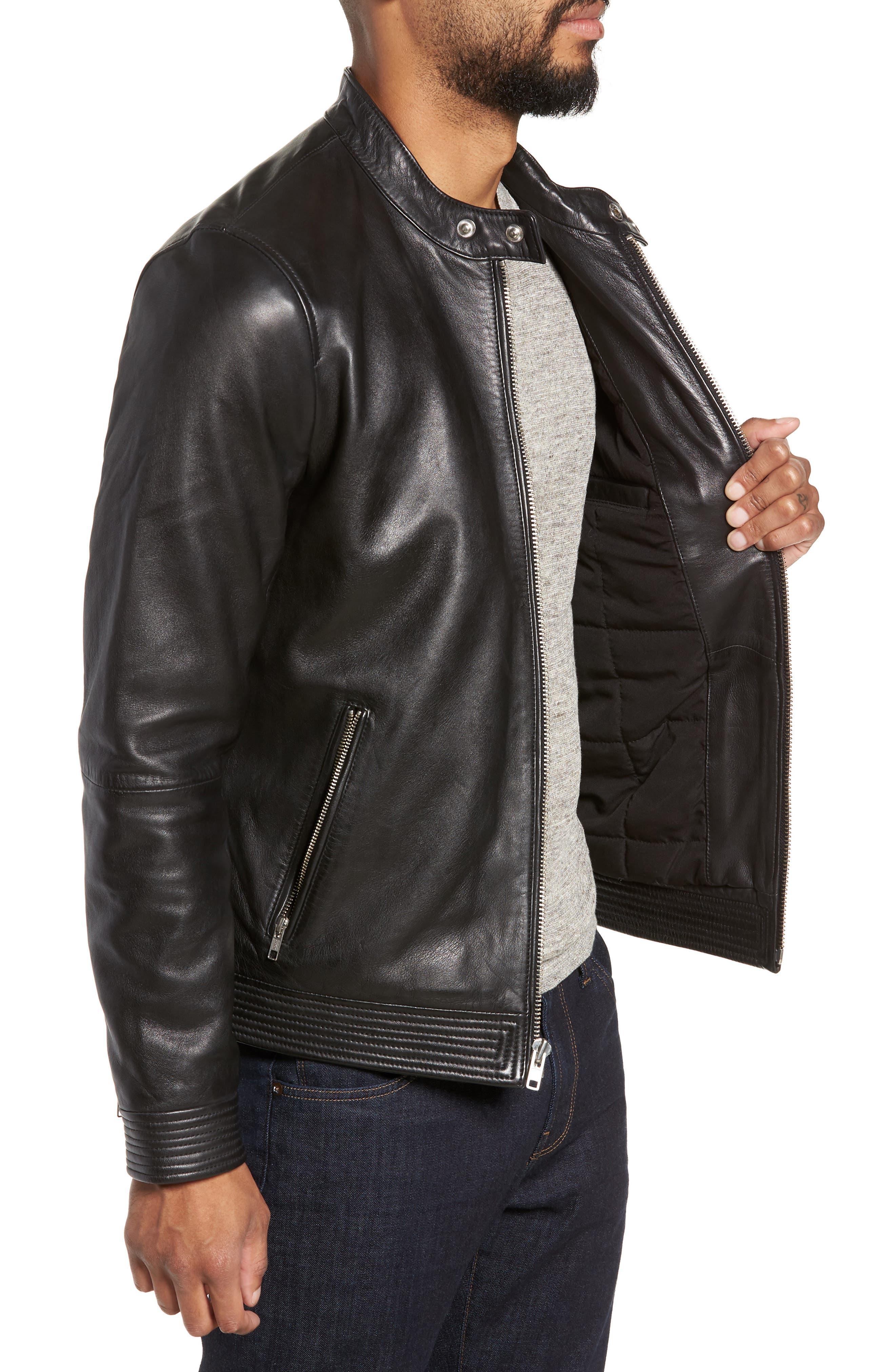 ,                             Leather Racer Jacket,                             Alternate thumbnail 3, color,                             BLACK