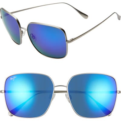Maui Jim Triton 61Mm Polarizedplus2 Mirrored Square Sunglasses - Titanium/ Blue Hawaii